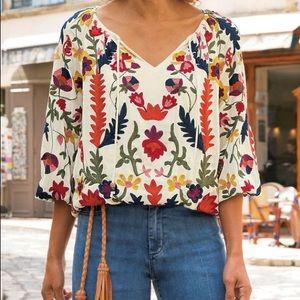 Soft surroundings banjara embroidered top